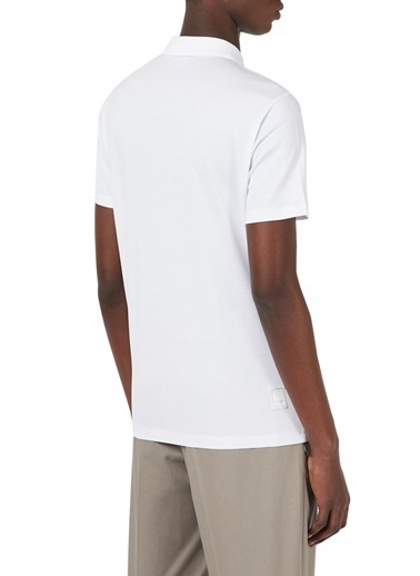 Emporio Armani  Fermuarlı Polo T Shirt Erkek Polo 3K1Fc1 1Juvz 0100 Beyaz